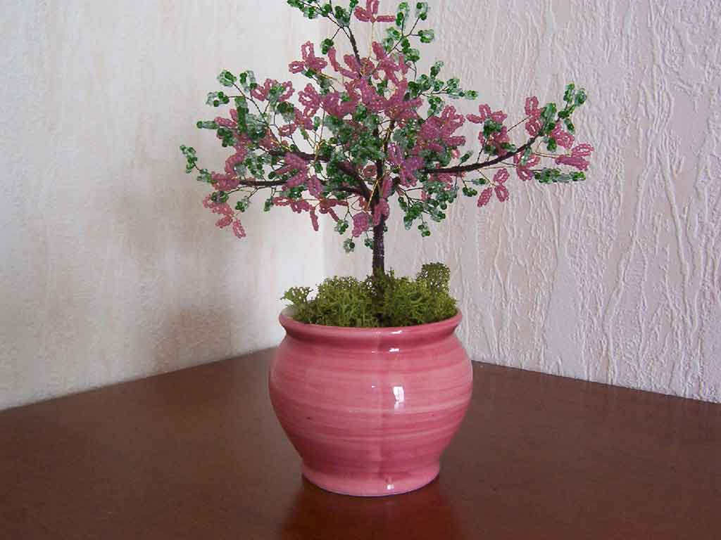 N°726 arbre ailette rose pot rond rose
