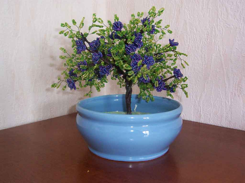 N°751 bonsai bleu irisé metal pot rond bleu