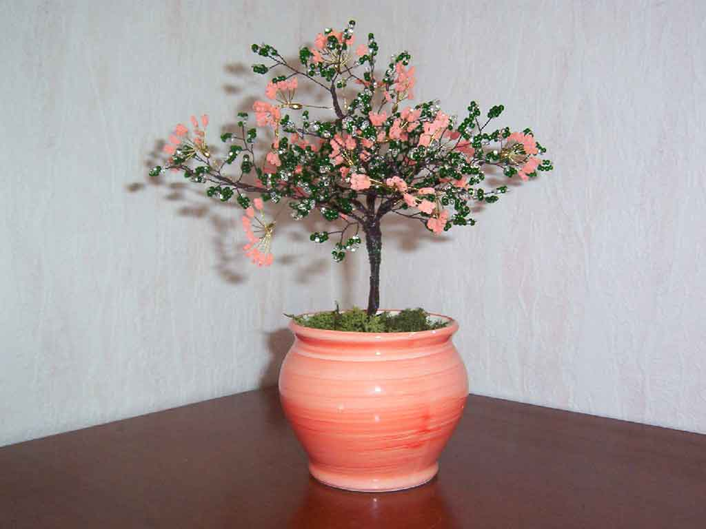 N°778 arbre eventail saumon pot rond saumon