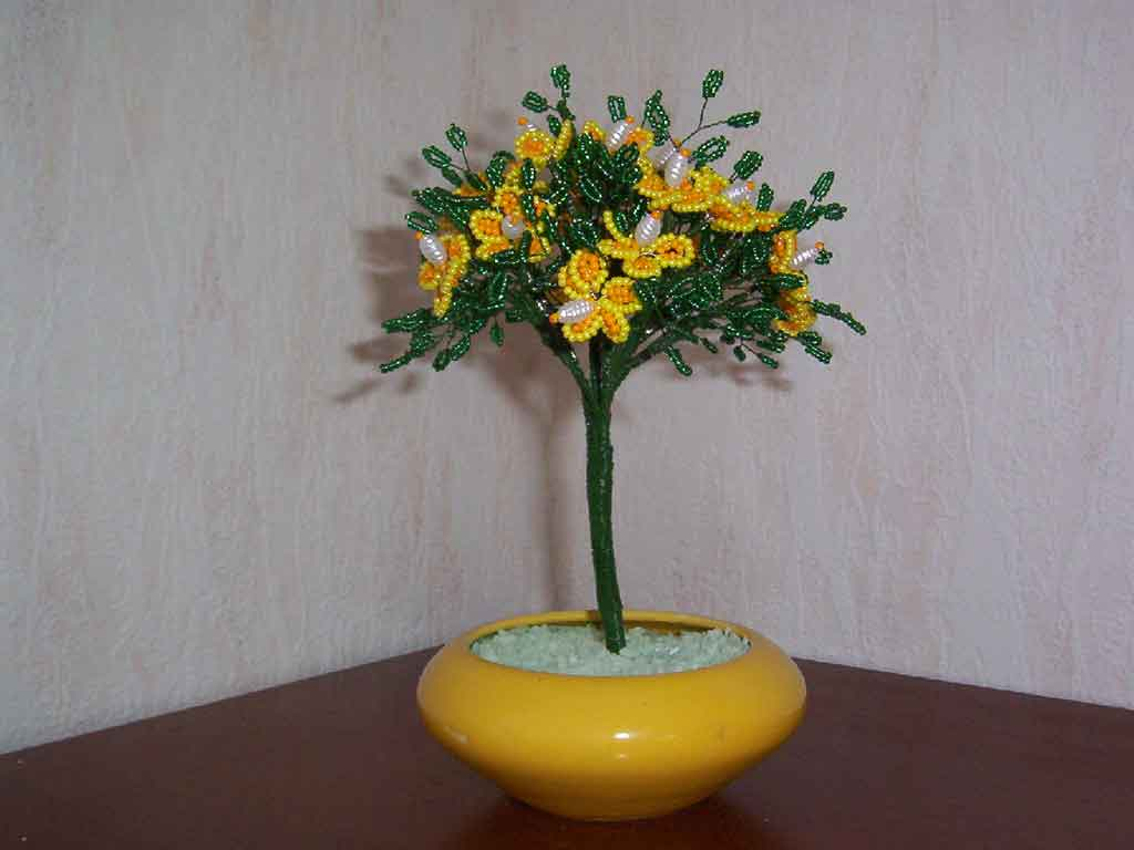 N°788 arbre fleur 5 petales bi couleur jaune et orange pot conique jaune